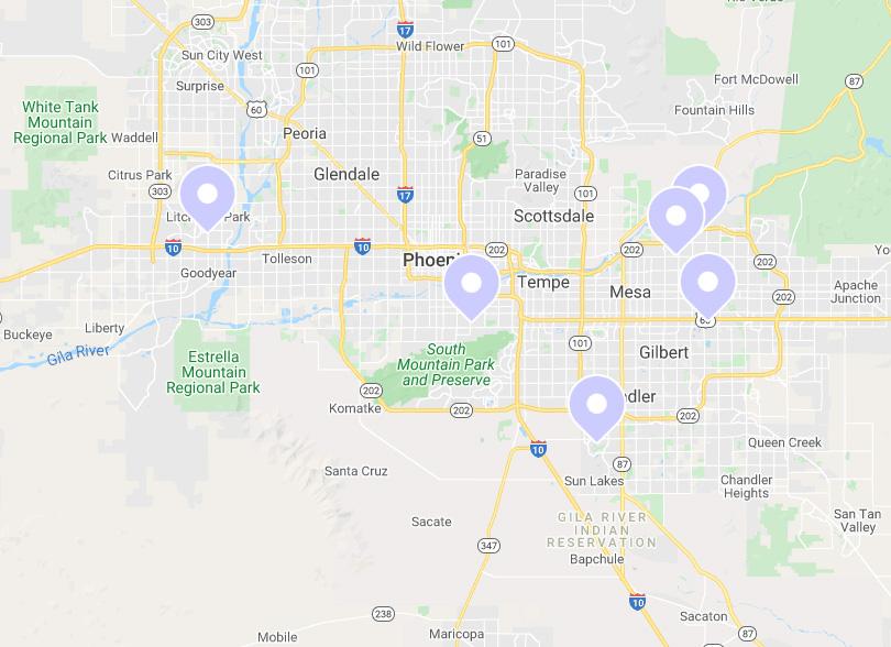 Map of wedding venues in Phoenix, AZ